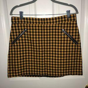 Forever21 Yellow Plaid Mini Skirt w/ Pockets